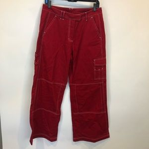 Daily Paper Red Wide Leg Cargo Pants SZ S